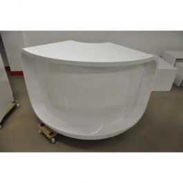 COUNTERS DISPLAY & GONDOLAS - CURVED COUNTERS : White counter for store rounder white glossy