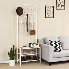 RETAIL DISPLAY FURNITURE - ACCESSORY DISPLAYS : White steel coat holder with 3 shelves